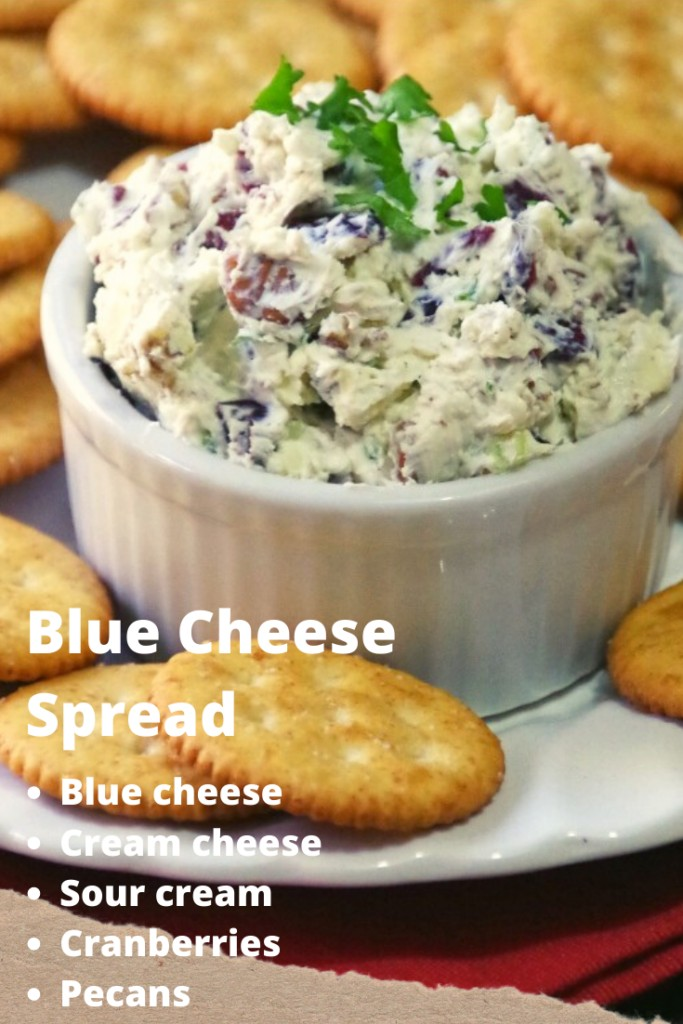 Blue cheese spread with cream cheese, sour cream, cranberries, and pecans