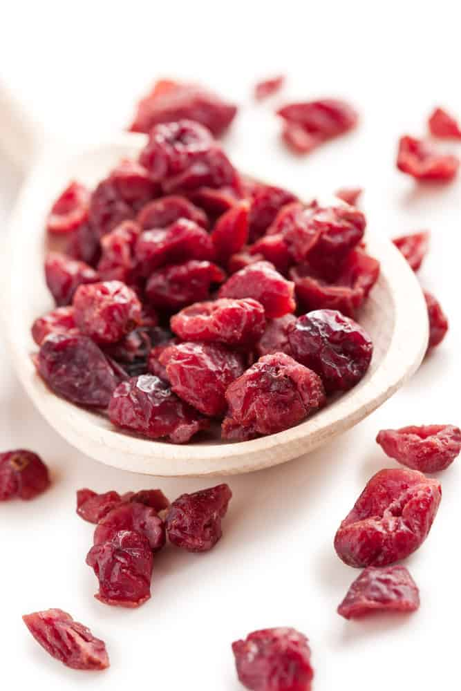 dried cranberries in a white bowl