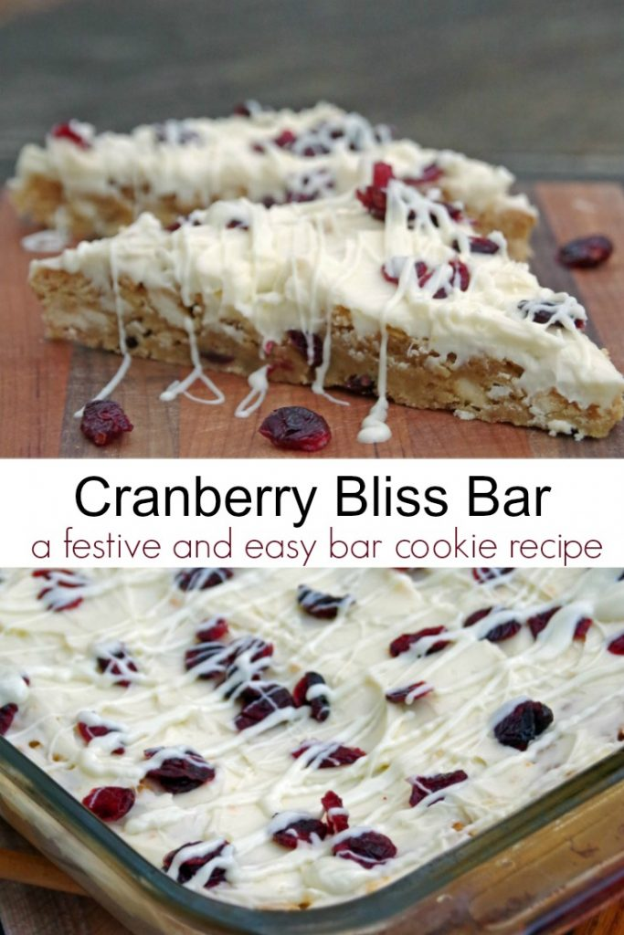 This cranberry bliss bar is a festive and easy bar cookie recipe
