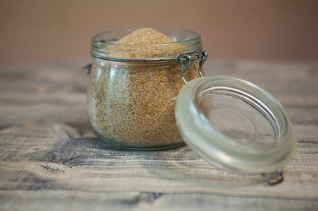 sugar in glass jar