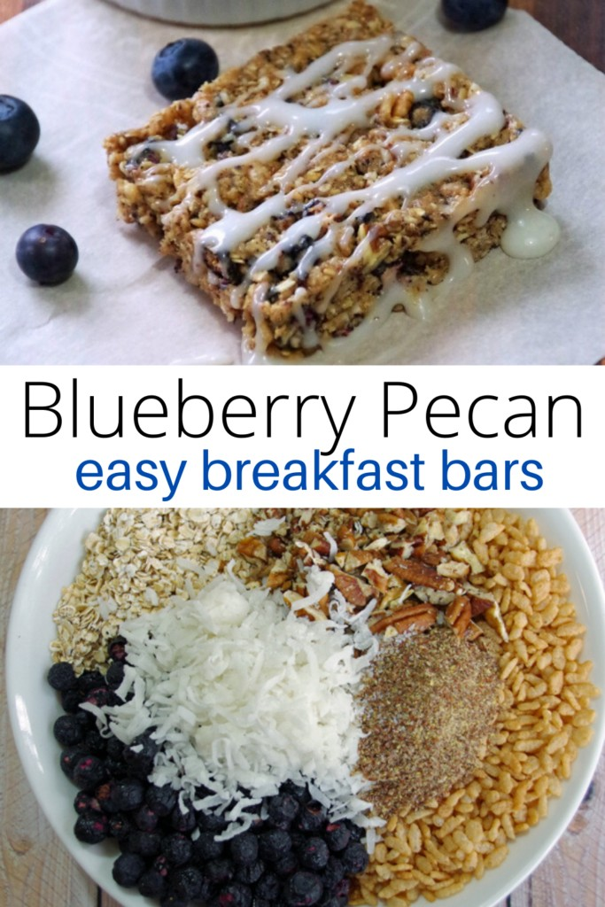 Collage of Blueberry Pecan Easy Breakfast Bars and bowl of breakfast bar ingredients