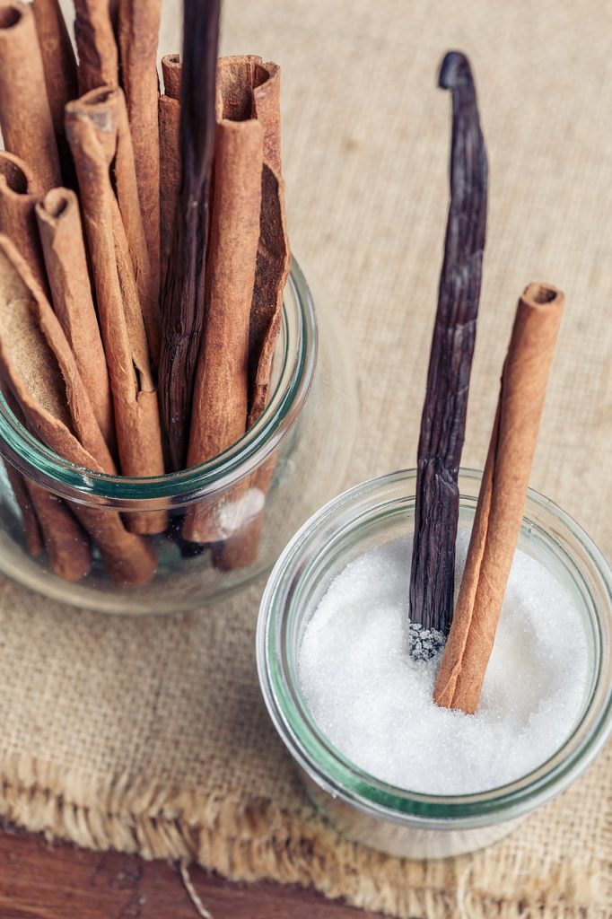 cinnamon and sugar in jar with vanilla