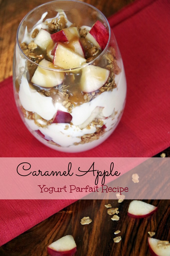 Caramel Apple Yogurt Parfait Recipe makes a healthy breakfast idea or a delicious dessert recipe!