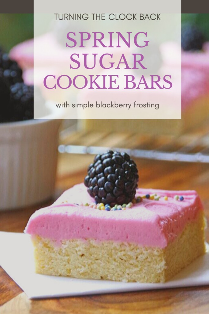 Spring Sugar Cookie bars with simple blackberry frosting