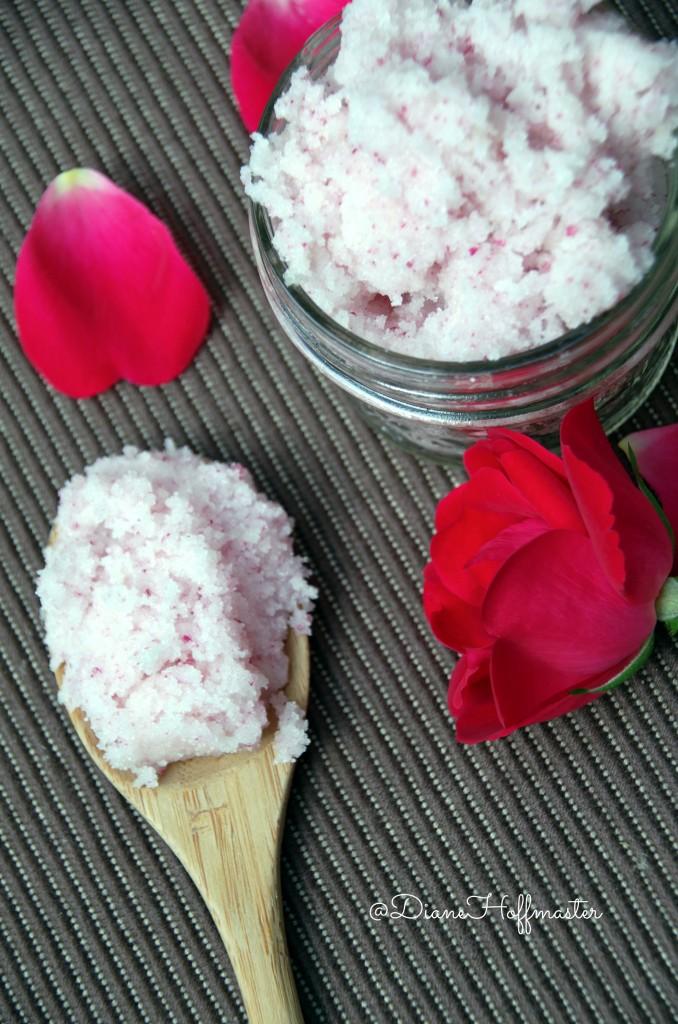 Mothers Day Gift Idea DIY Sugar Scrub with fresh rose petals