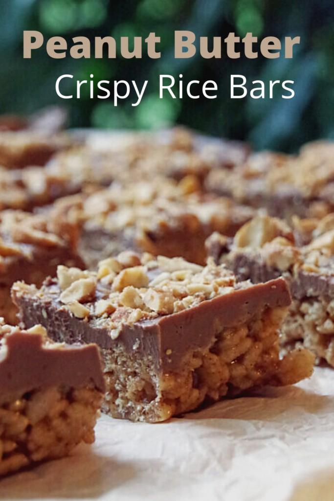 Peanut Butter Crispy Rice Bars on a cutting board