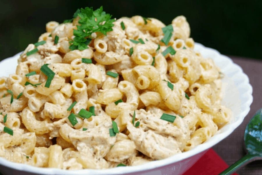 Chicken pasta salad with ranch dressing