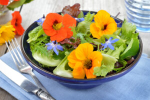 edible pansies in a garden salad
