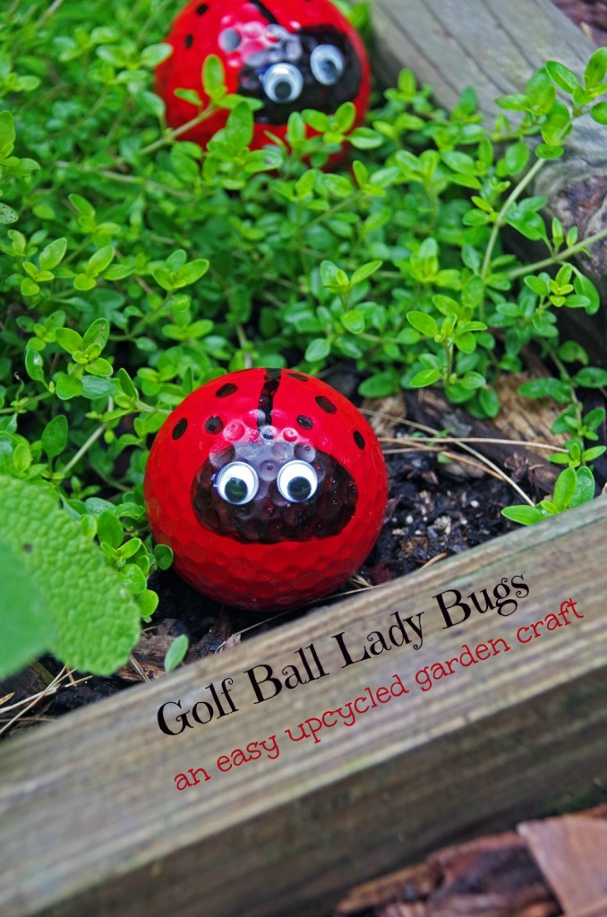 Golf Ball Lady Bug Craft as Pretty Upcycled Garden Decor