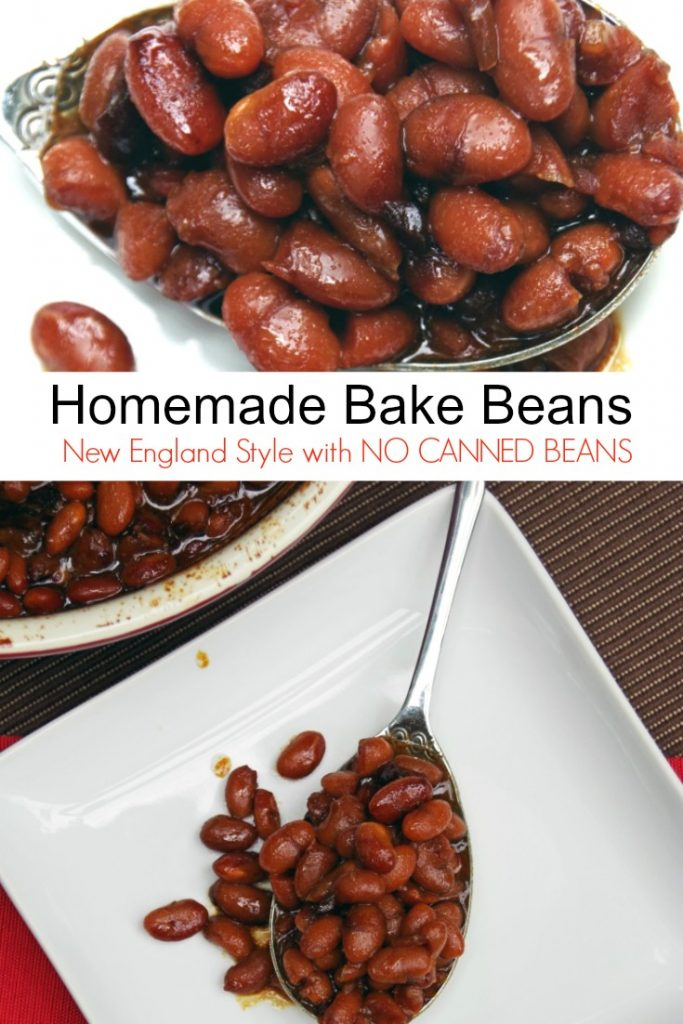 homemade baked beans in a ceramic pot with a metal spoon next to it