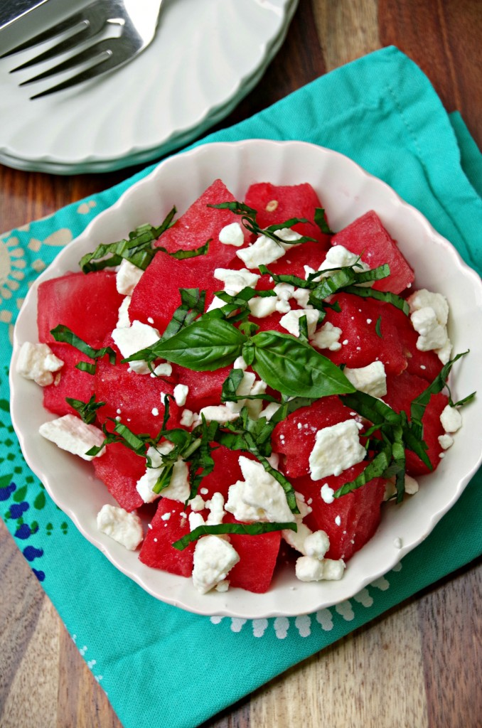 Watermelon Salad Recipe with Basil and Feta