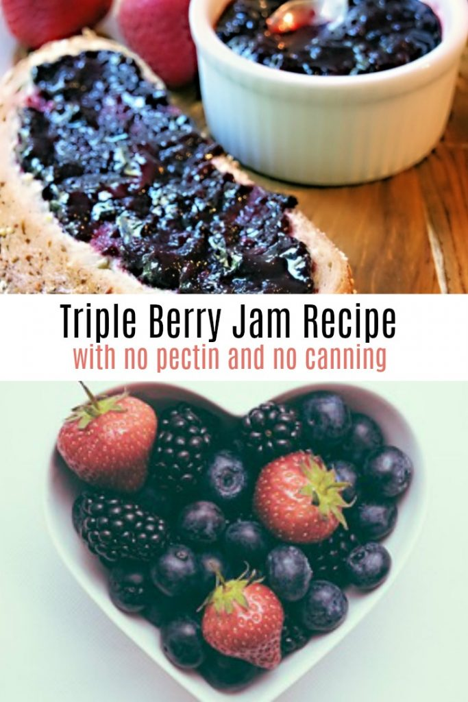 Homemade Triple Berry Jam Recipe with No Pectin and No Canning