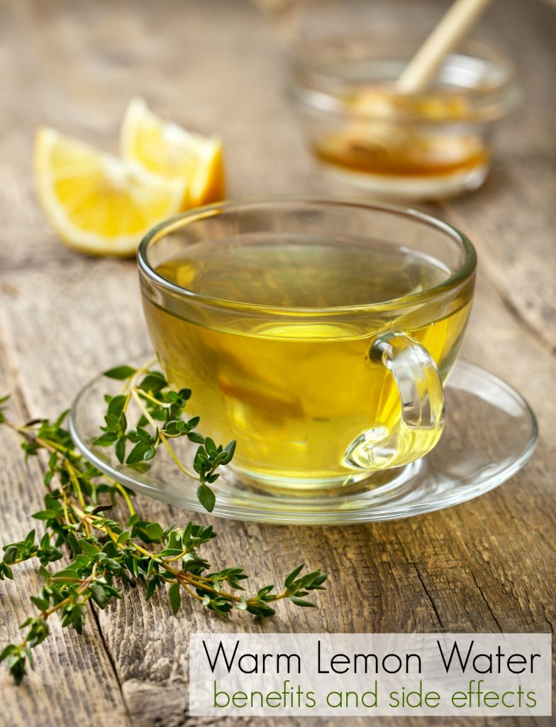Glass of warm lemon water with thyme and text Warm Lemon Water Benefits and Side Effects