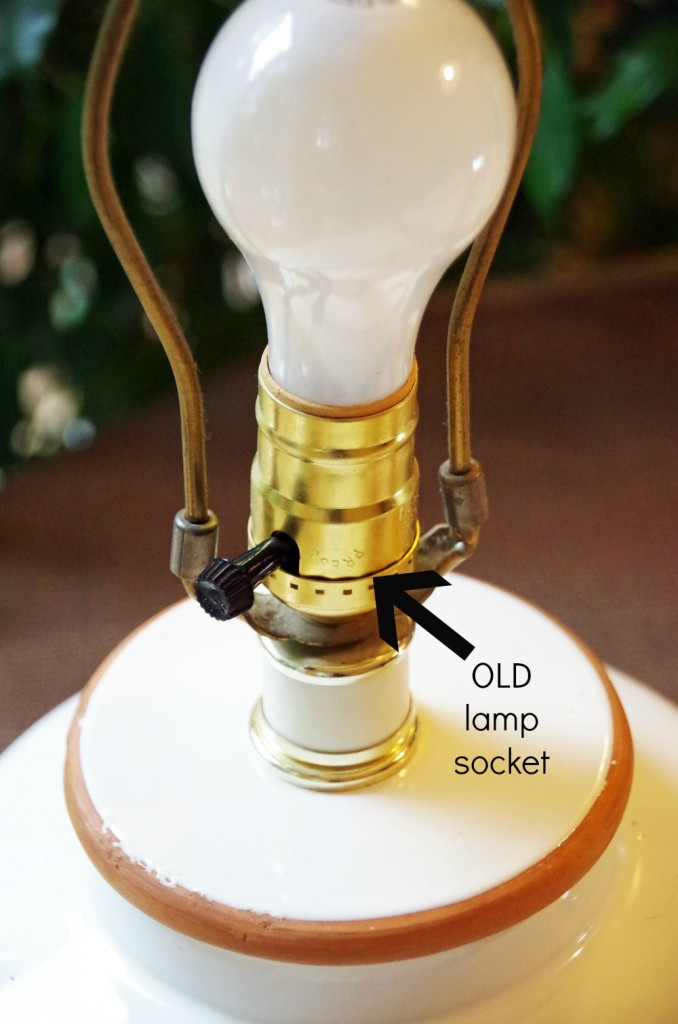 close up of lamp with lamp socket and one way light bulb