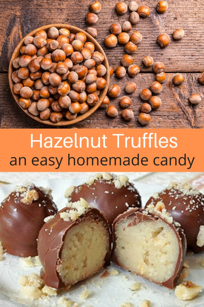 a collage of hazelnuts and hazelnut truffles