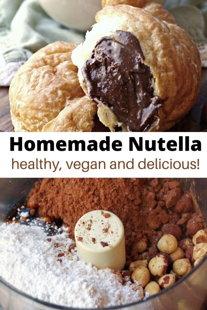 homemade nutella collage with nutella ingredients