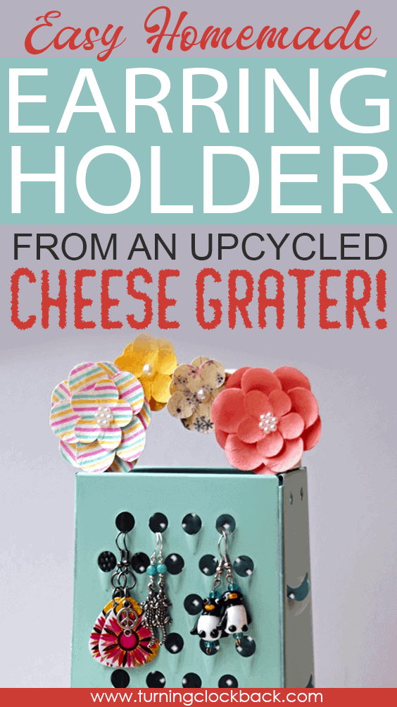 upcycled earring holder craft from box cheese grater
