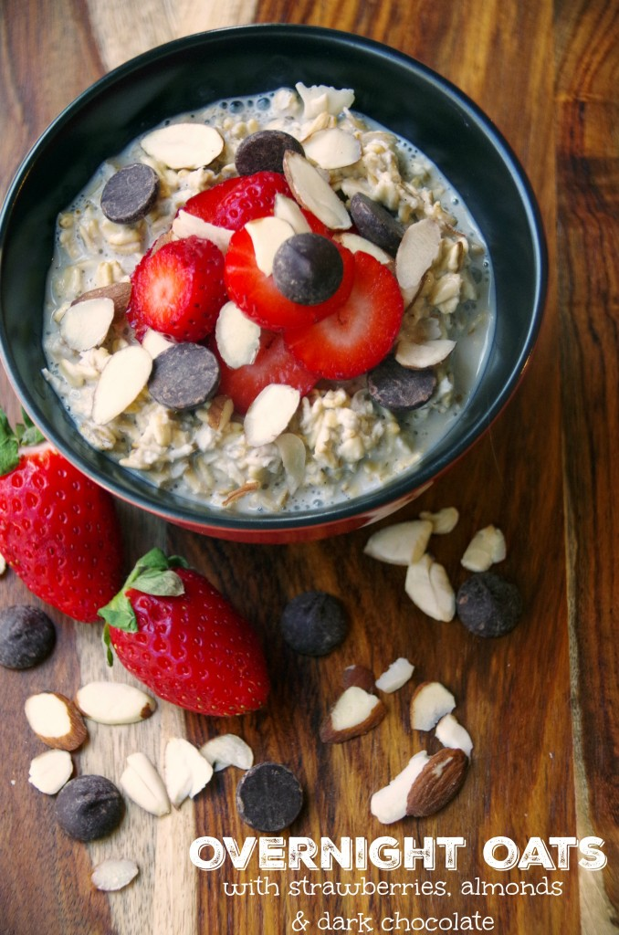Easy Overnight Oats Recipe with Strawberries, Almonds and Dark Chocolate. A clean eating meal planning idea that takes almost no time to make!