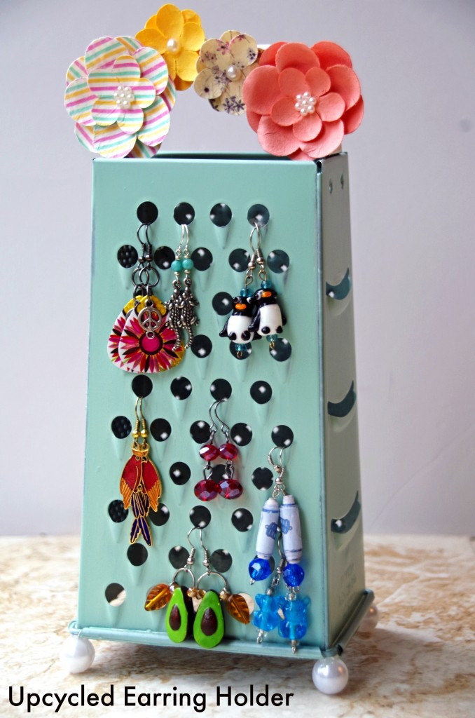 eco craft ideas earring holder from an upcycled cheese grater 1942