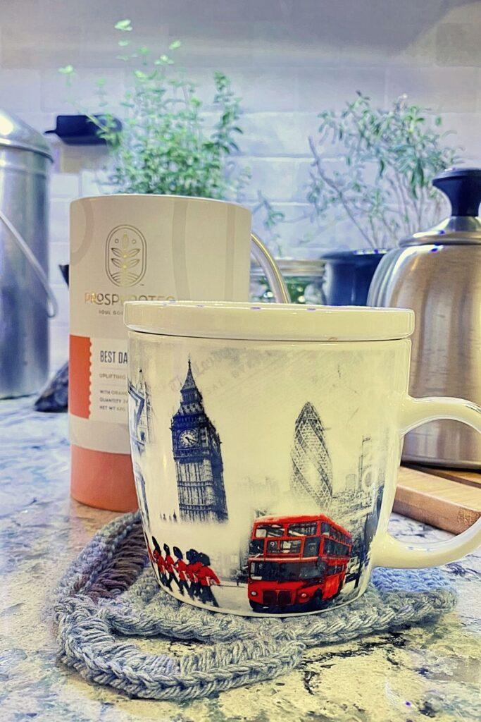 mug of herbal tea on counter