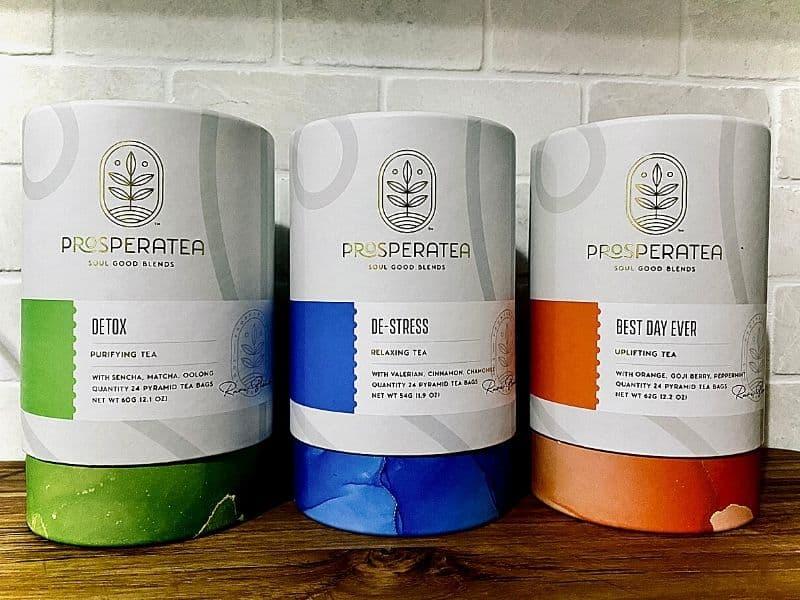 three varieties of prosperatea herbal tea blends