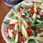 Creamy Asparagus Pasta Salad Recipe with Bacon and Bleu Cheese