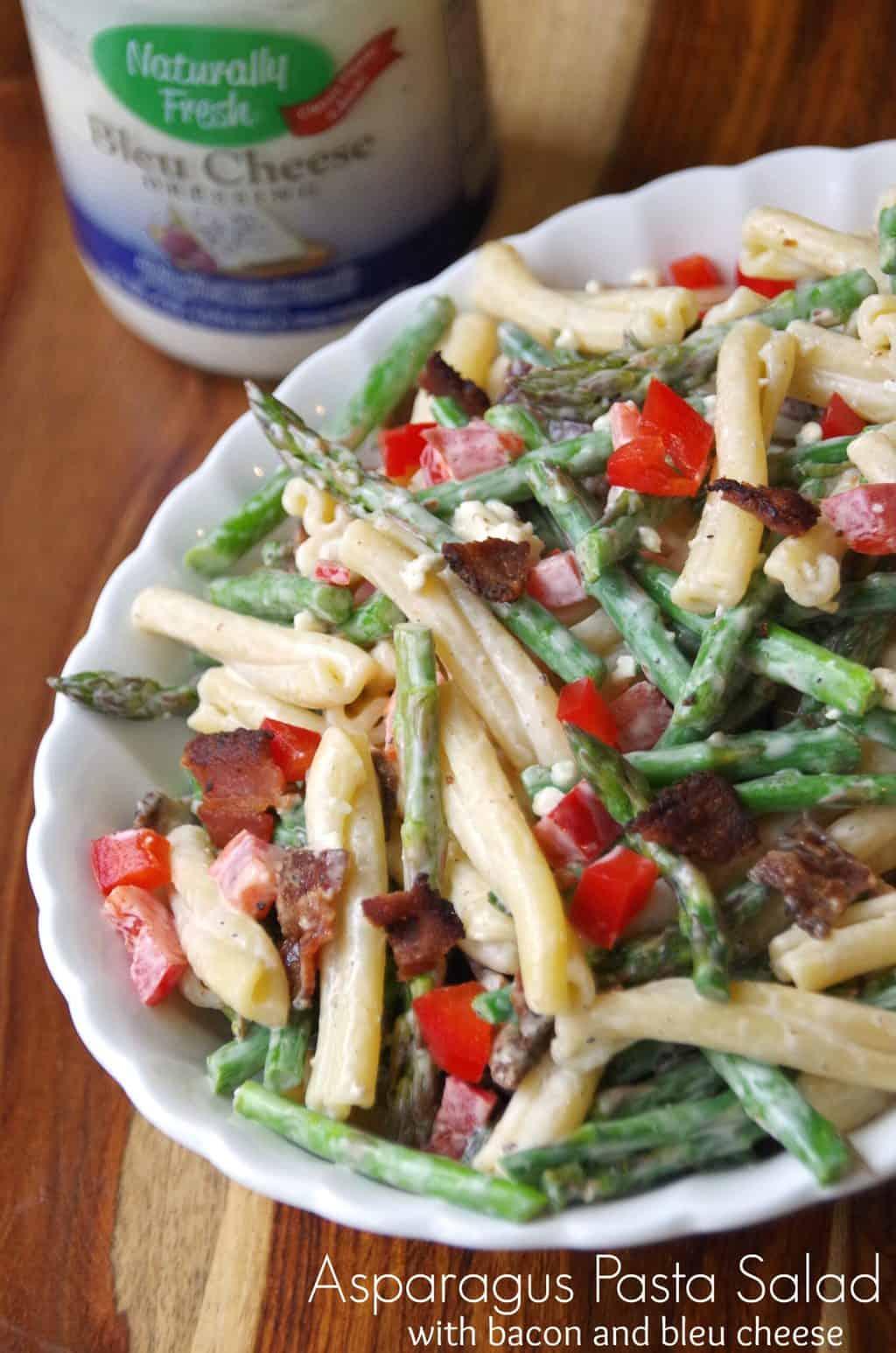 Asparagus Pasta Salad Recipe with Bacon and Bleu Cheese