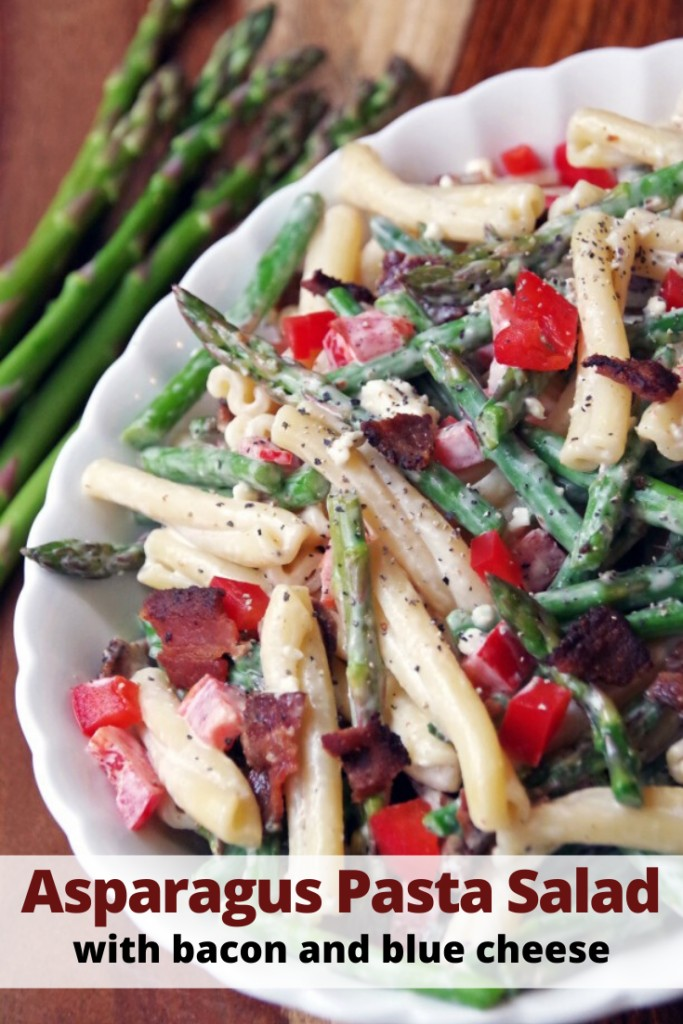 Asparagus Pasta Salad Recipe with bacon and blue cheese