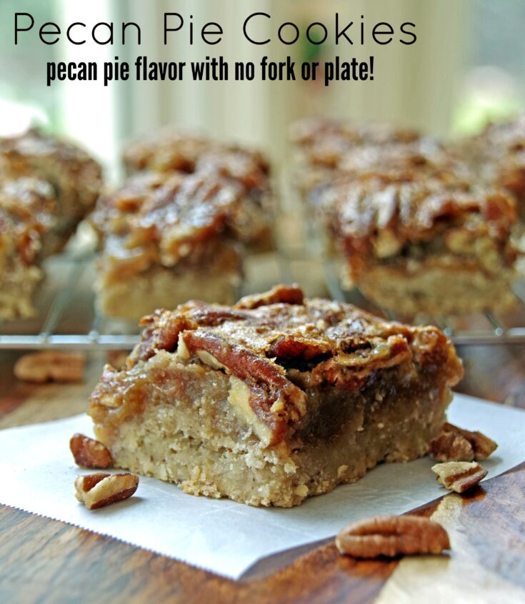 Easy Pecan Pie Cookie Recipe. All the flavor of a pecan pie in the convenience of a bar cookie recipe.