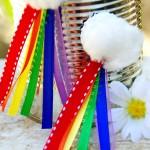 Easy Rainbow Craft:  Bottle Cap Rainbow Magnets