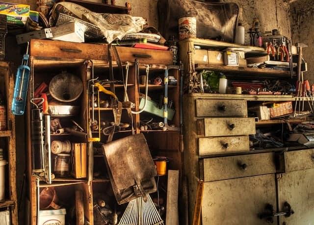 cluttered basement shelf