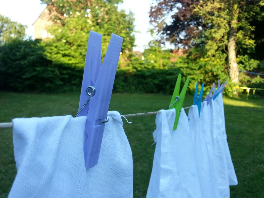 Air drying clothes on a clothes line