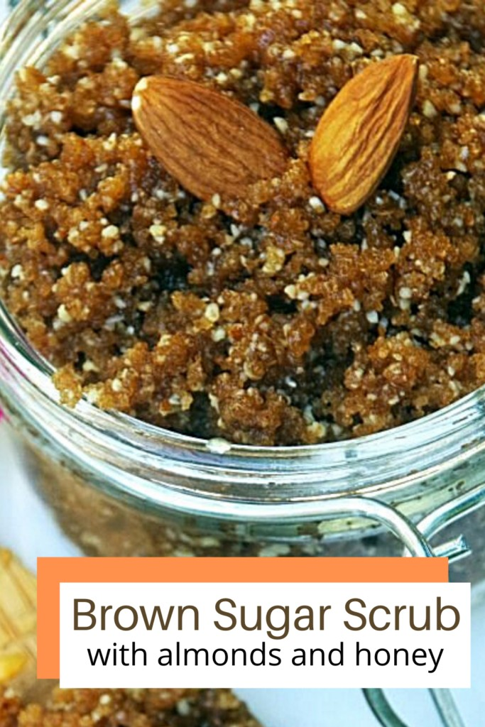 homemade brown sugar scrub in clear container