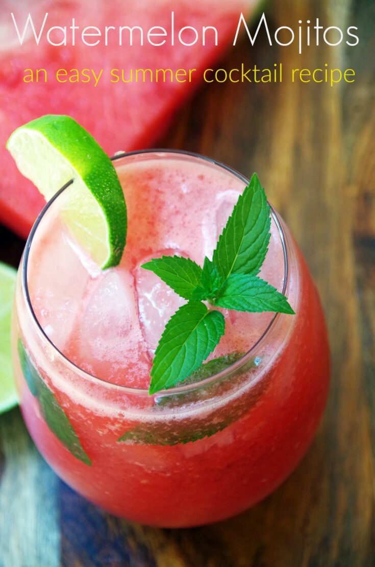 Watermelon mojitos with Fresh Mint is an easy summer cocktail recipe!