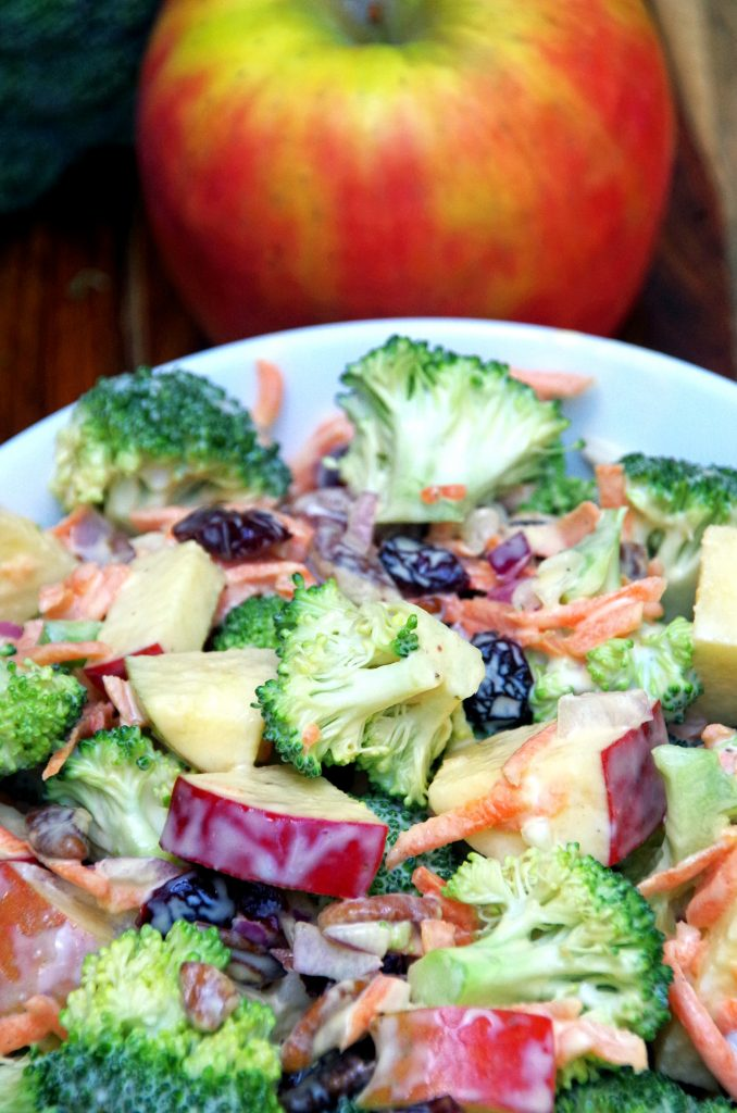 Easy Broccoli Apple Salad Recipe with Lower Fat Dressing