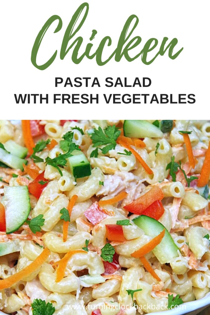 close up of chicken pasta salad with vegetables