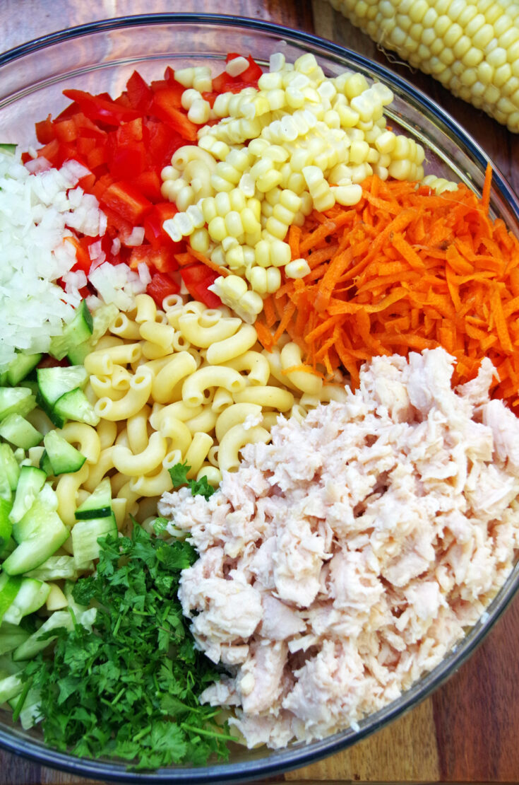 Cold Chicken Pasta Salad Recipe with a Rainbow of Veggies