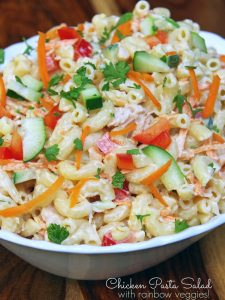 Cold Pasta Salad Recipe with Chicken and Rainbow Veggies