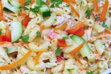 Cold Chicken Pasta Salad Recipe with a Rainbow of Veggies