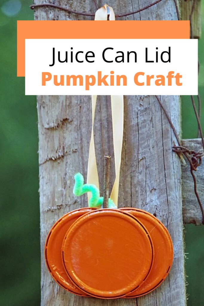 pumpkin craft made out of old juice can lids