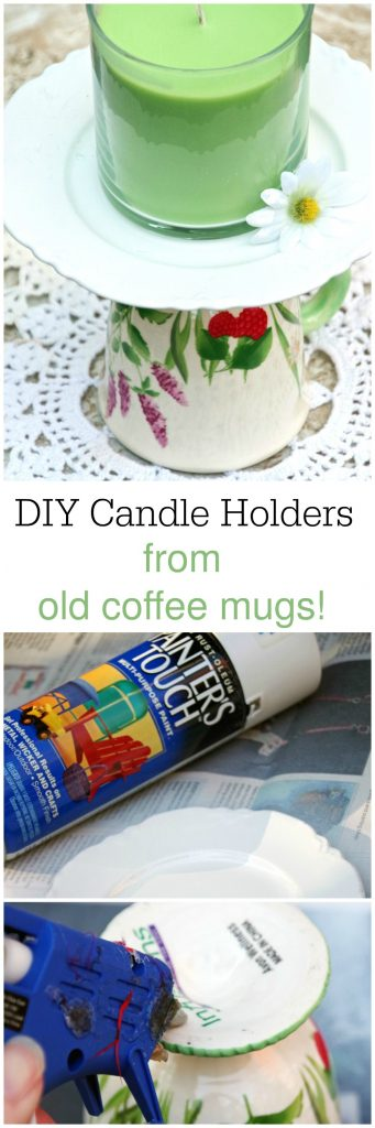 Easy DIY Decorative Candle Holder from Upcycled Old Coffee Mugs. If you are looking for Coffee Mug Crafts, this one is easy and cheap!