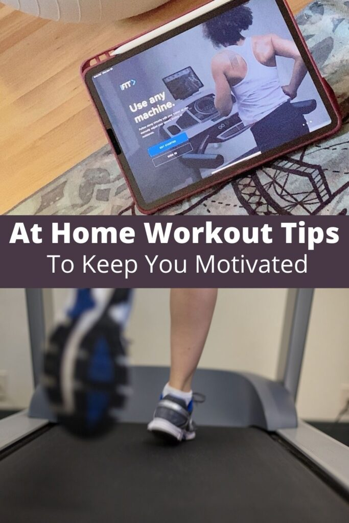 collage of indoor workout photos with text overlay 'At Home Workout Tips To Keep You Motivated'
