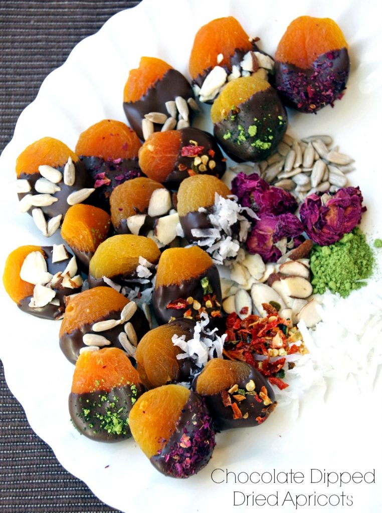 Looking for a healthy dessert recipe? This chocolate dipped apricots recipe is the perfect solution. Dried apricots, dipped in chocolate and sprinkled with an assortment of sweet and savory additions.