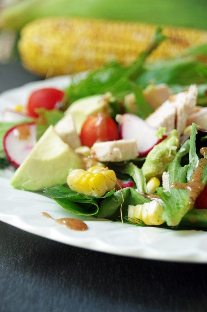 easy roasted corn salad with chicken and avocado