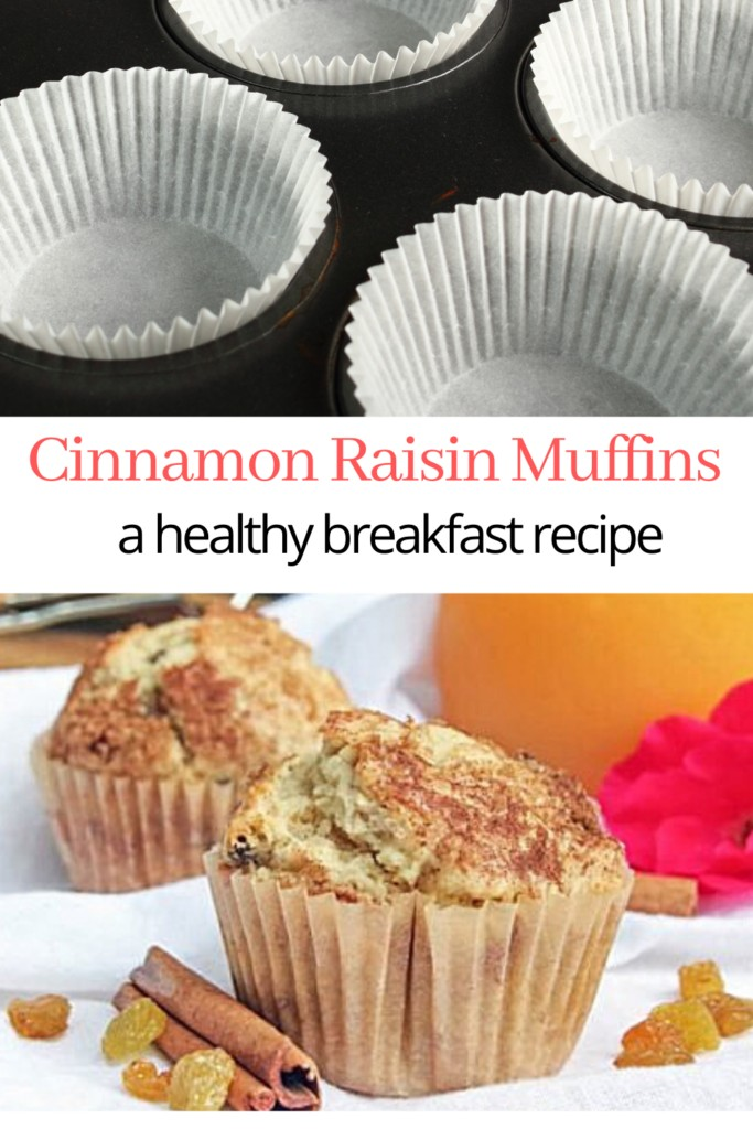 collage of muffin tin and homemade cinnamon spice muffins