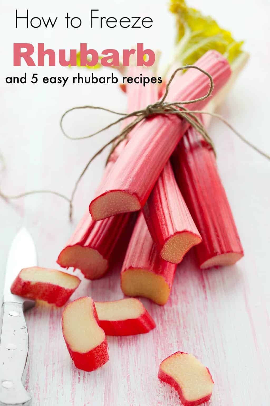 Have too much rhubarb? Learn how to freeze rhubarb and get 5 easy rhubarb recipes to try. Freezing rhubarb is easy with these tips!