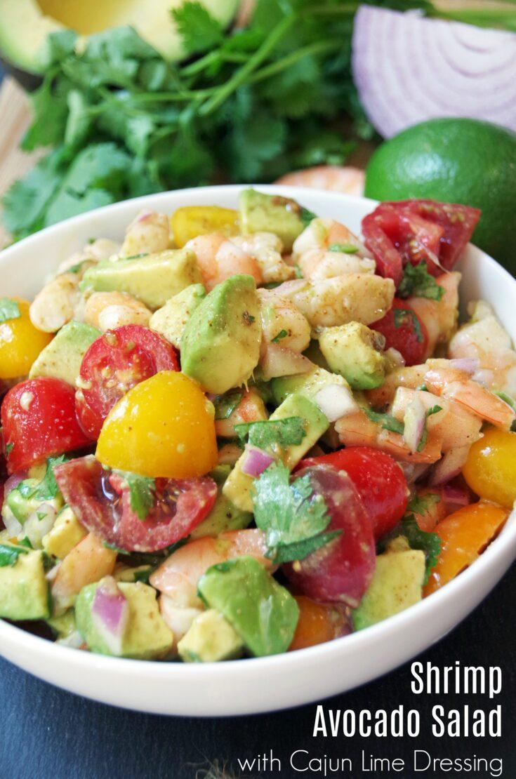 Shrimp Avocado Salad Recipe with Cajun Lime Dressing