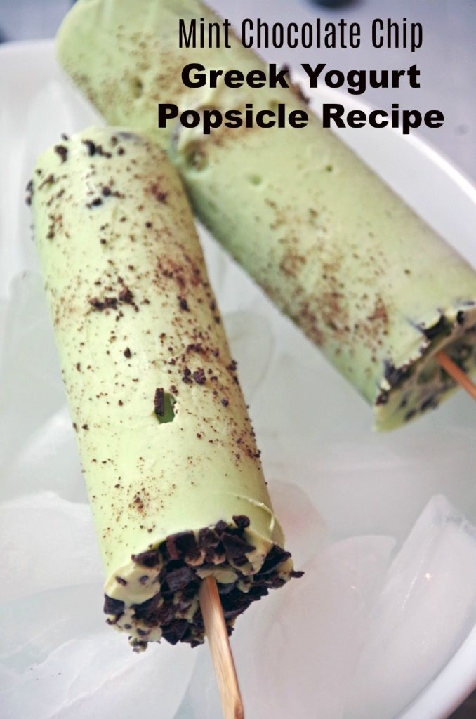 Mint Chocolate Chip Greek Yogurt Popsicle Recipe