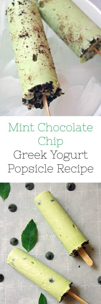 Mint Chocolate Chip Greek Yogurt Popsicle Recipe