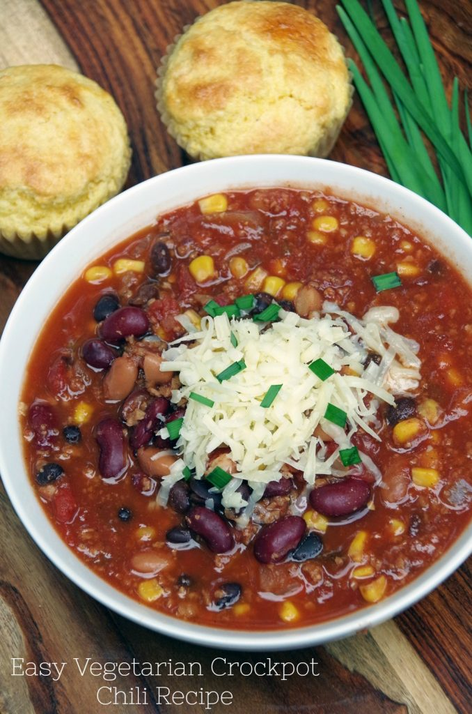 Easy Vegetarian Crockpot Chili Recipe